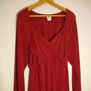 Red Slinky low cut long sleeve Dress Top